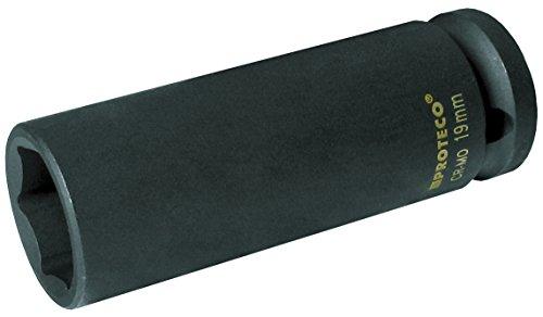 Proteco-Werkzeug 1 2 Zoll SW 19 mm Molybdän Vanadium Schlagschrauber Nuss lang Tiefbett Einsatz Kraft Stecknuss Schlagnuss Schlagschraubereinsatz