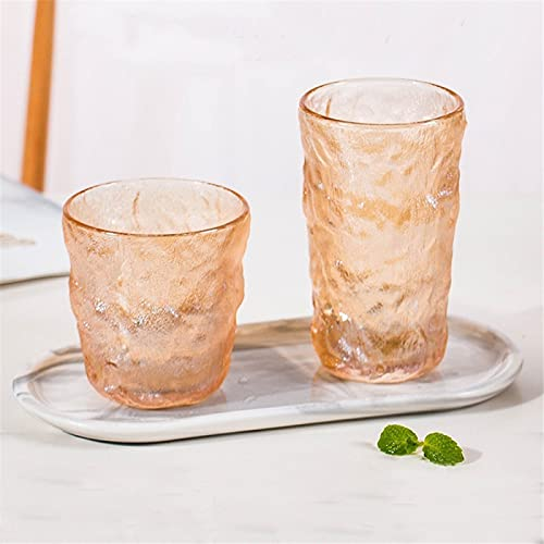 RZHIXR Whiskey Glass, Set Of 2 Glass Wine Glasses, Used For Wine, Cocktail Or Juice, Glass Water Glass With Ice Cube Pattern
