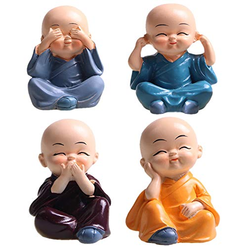 MaxDelic 4pcs Monk Figurines Little Resin Statue,Exquisite Buddha Statue Resin Crafts Ornament Hear No Evil See No Evil Speak No Evil Do No EvilStatue Wealth Lucky Figurine Home Baby Buddha Decor Gift