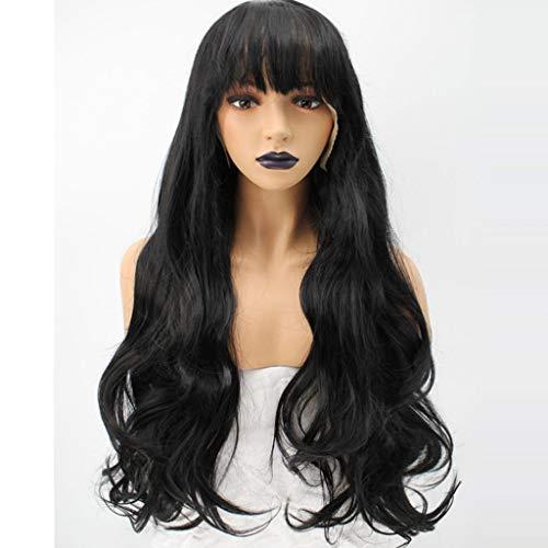 Perruque Longue Cheveux Bouclés Bandeau Fibre Chimique Devant Lace Wig Big Wave Lady Wig Noir (Couleur : A, Taille : 26 inches)