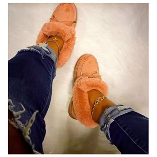 GMRZ Mode Flache Stiefel, Kandylane Casual Cora Shoes Plateau Stiefel Für Damen Winter Warm Slip on Pelzfutter Stiefeletten Schneeschuhe,Orange,US:4