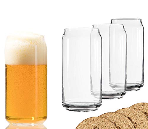 Ecodesign Drinkware Libbey Beer Glass Can Shaped 20 oz Beer Glasses 4 Pack w/coasters
