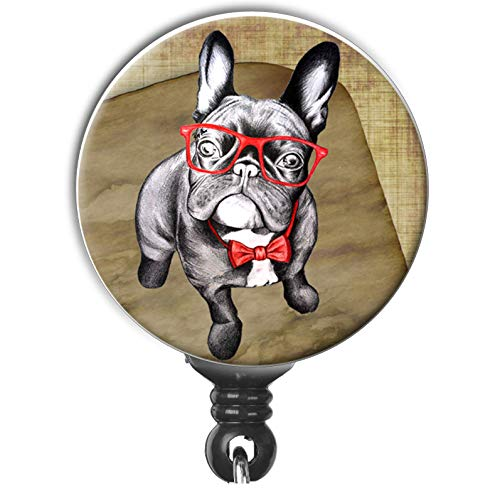 Cute Frenchie French Bulldog With Red Glasses Retro Vintage Retractable Badge Reel ID Holder
