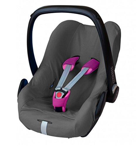 ByBoom - Universal Sommerbezug, Schonbezug aus 100% Baumwolle, für Babyschale, Autositz, z.B. Maxi Cosi CabrioFix, City, Pebble; Designed in Germany, MADE IN EU, Farbe:Grau