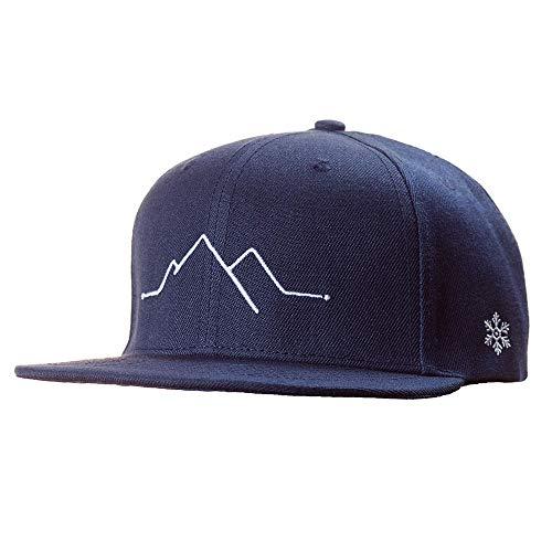 Snapback Caps Herren & Damen - Cap Berge, Mountain- Schwarzwald Cap, Black Forest Cap - Einheitsgröße, one Size - Cap mit Stick (Blau)
