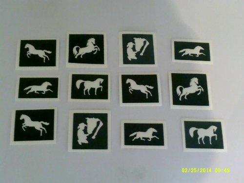 30 x Pferd Themen Schablonen (gemischt) für Glitzer Tattoos / Kuchen / viele nutzt Pferde Pony Ponies Mädchen