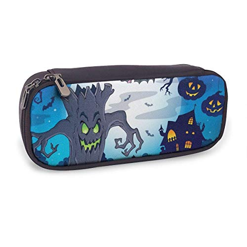 Pencil Case Pen Bag,Scenery with Halloween,Large Capacity Pen Case Pencil Bag Stationery Pouch Pencil Holder Pouch with Big Compartments