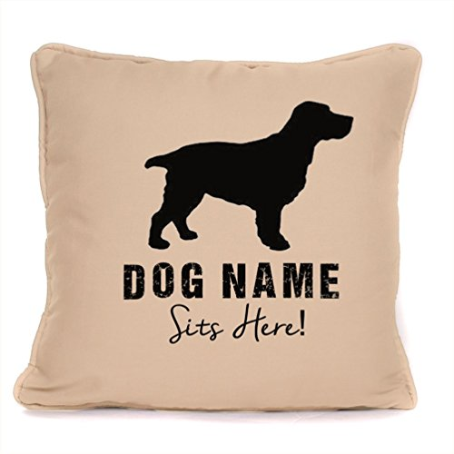 Personalised Gift For Dog - Springer Spaniel Sits Here - Piped Cushion With Pad Included - 18 x 18 Inch.
