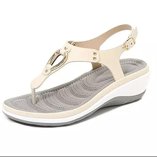 BestSiller Sandalias de cuña baja para mujer, sandalias de suela arqueada suave para mujer, sandalias antideslizantes para playa con hebilla de metal para uso en interiores y exteriores