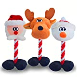 Litviz Christmas Dog Squeaky Toys 3 Pack for Pet Gifts, Durable Tough Dog Rope Toys, Soft Plush Chew Interactive Toy for Small Medium Puppy Pet Reindeer Santa Snowman Kids Toys