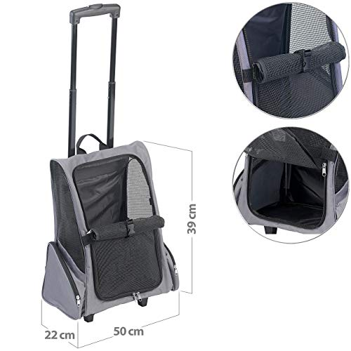 Sweetypet Hundetrolley: 2in1-Hunde-Trolley und Rucksack mit Sichtfenster, bis 20 kg, anthrazit (Hunderucksack)