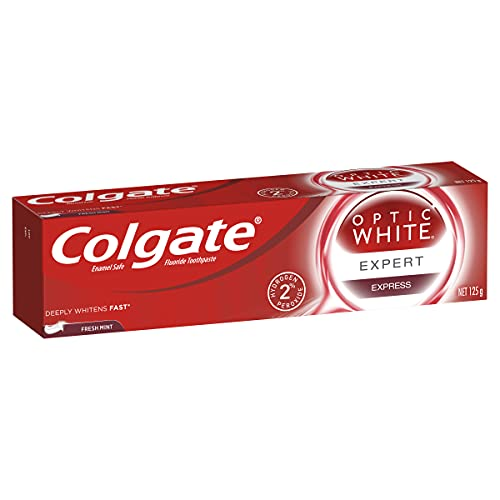 Colgate Optic White Expert Express Teeth Whitening Toothpaste, 125g, Fresh Mint, With 2% Hydrogen Peroxide, Enamel Safe