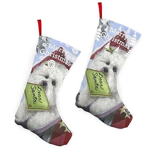 Pummbaby Funny Cute Bichon Frise Christmas Dog Giftmerry Christmas Stockings Xmas Socks Ornament Themed 10 Inch Double 2pcs Large Pair Formal Unique Female Male Hanger Pole