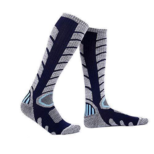 BenBoy Calcetines Térmicos de Esquí para Hombre Mujer Cálidos Altos Invierno Calcetines de Nieve Snowboard Senderismo,WZ3327-Darkblue-XL