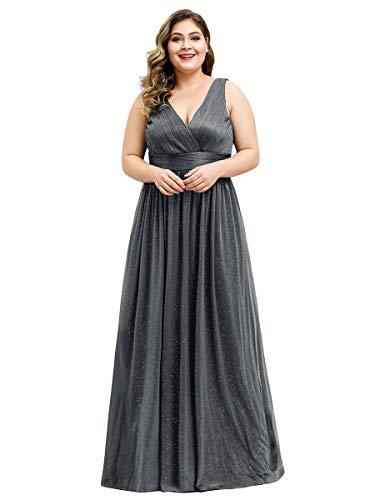 Ever-Pretty Vestidos de Fiesta Cuello en V Plisado sin Mangas A-línea Talla Grande para Mujer EZ07764-EU2