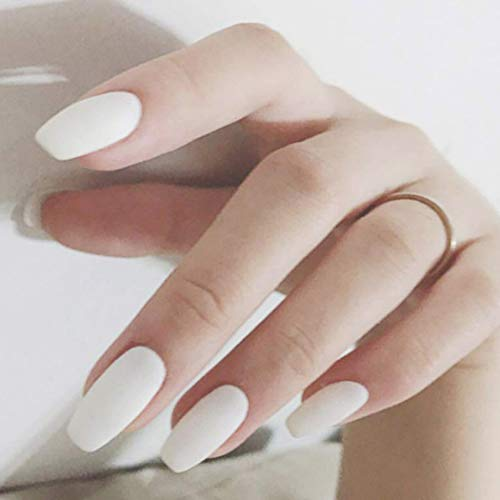 Fstrend White Frosted 24Pcs False Nails Matte Full Cover Medium Ballerina Square Coffin Natural Fashion Acrylic Fake Nail for Women and Girls