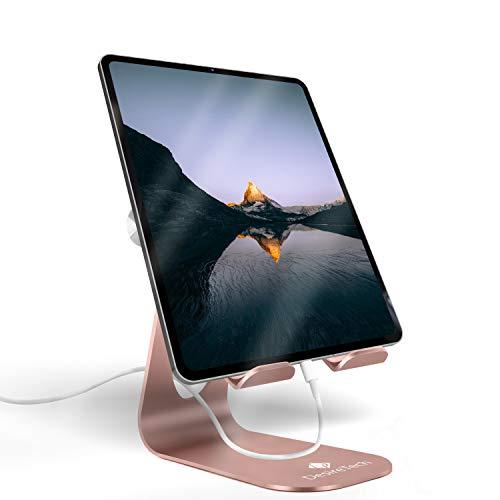 Soporte para tableta ajustable, soporte de escritorio para iPad Pro de 9.7 a 12.9 pulgadas, iPad Air Mini, iPhone, Samsung Galaxy Tab, consola de interruptor (oro rosa)