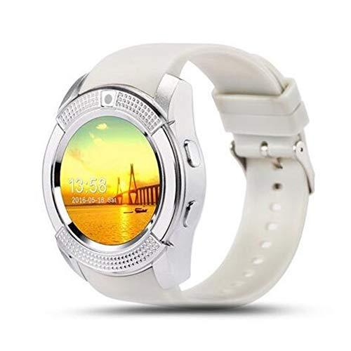 Daqin Reloj Inteligente con Pantalla Táctil Bluetooth Reloj con Cámara/Ranura para Tarjeta SIM, Reloj Inteligente A Prueba De Agua (Color : White)