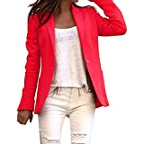 Otoño Blaser Office Lady Blazer de un Solo botón de Color sólido Chaqueta de Traje de Manga Larga Abrigo básico