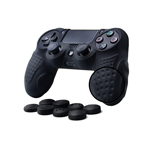 CHINFAI PS4 Controller DualShock4 Skin Grip Anti-Slip Silicone Cover Protector Case for Sony PS4/PS4 Slim/PS4 Pro Controller with 8 Thumb Grips (Black)