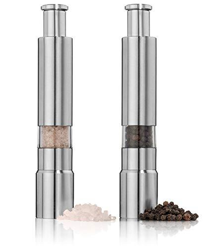Salt and Pepper Grinder Set of 2,Stainless Steel Push Button Grinder Modern Design Thumb Grinder, for Black Pepper, Sea Salt and Himalayan Salt, Spice and Salt