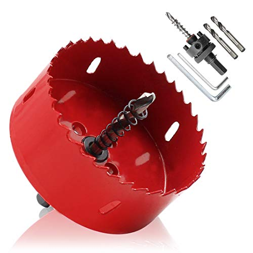 Hordion 89mm 3.5 inch Hole Saw with Drill Bits & Arbor, Heavy Duty Bi-Metal Hole Cutter for Cornhole Boards Wood Plastic Drywall