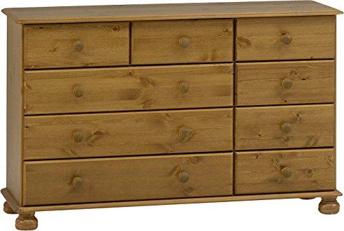 Steens Richmond Kommode, 3 großen und 6 kleine Schubladen, 120 x 74 x 39 cm (B/H/T), Kiefer massiv, gelaugt lackiert