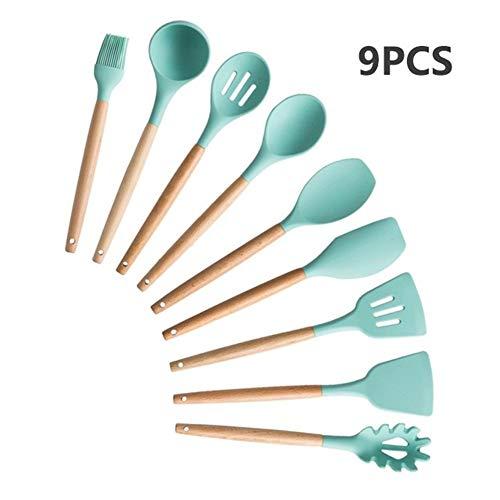 9/11/12/13 Ustensiles de cuisine en silicone poignée en bois Set de cuisine Outils de cuisine Ensembles Accessoires avec la boîte en acier inoxydable Stockage (Color : MINT GREEN 9PCS A)
