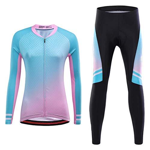 WXJHA Las Mujeres Ciclismo Conjunto Jersey Manga Larga Pantalones Rellenados 3D Conjunto Medias Ropa Transpirable Highelasticity Secado Rápido Al Aire Libre Ropa De Deporte,XL