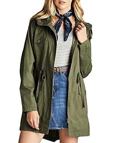 Maxwinee Chaqueta de entretiempo para mujer con capucha larga, parka utility, chaqueta exterior con cordón, chaqueta cortavientos de invierno verde XXL