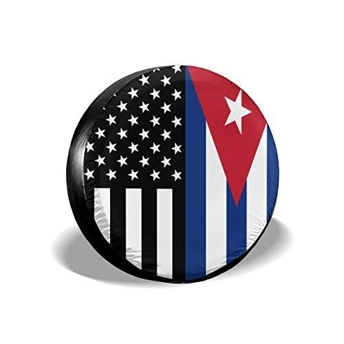 AEMAPE USA Cuba Bandera Cubana Cubierta de neumático de Repuesto, Ajuste Universal para Jeep, Remolque, RV, SUV, camión y Muchos vehículos, diámetro 17 Pulgadas