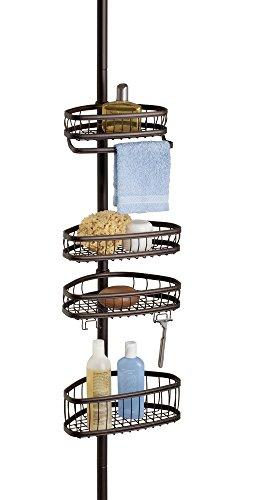 mDesign Teleskop Duschregal - ohne Bohren zu montierende Duschablage aus Metall - ideal für Shampoo, Rasierer, Schwämme und sonstiges Duschzubehör - bronzefarben