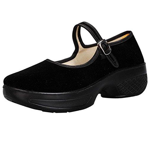 Zapatos para Mujer Otoño 2018 PAOLIAN Merceditas de Plataforma con Hebilla Calzado Dama Fiesta Terciopelo Casual Zapatos Calzado de Trabajo Cómodos Zapatillas Moda Talla Grande