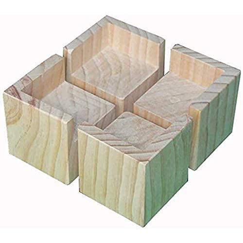 4 Paquetes de Madera Piernas, patas de mesa, patas de cama,Almohadilla de elevación de muebles de madera maciza, dispositivo de elevación de muebles, resistente al desgaste(Color:C,Size:8cm/2.4in)