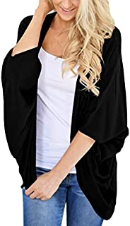 PRETTODAY Women's Summer Loose Kimono Cardigans Batwing Sleeve Sheer Shawl Cover ups