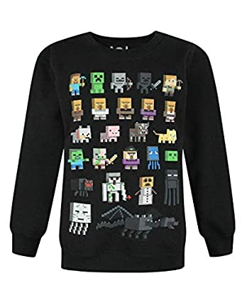 Minecraft - Sudadera oficial modelo Sprites para niños (Años (14-15)/Negro)