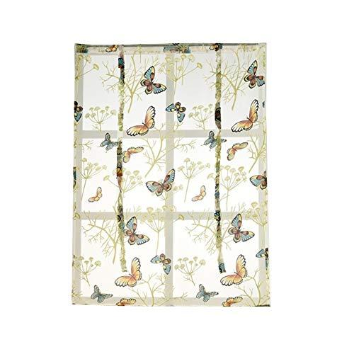 Yamalans Short Butterfly Flower Roman Blind Sheer Tulle Window Curtain,Balcony Voile Curtain Sheer Panel Drapes As 60cm x 120cm
