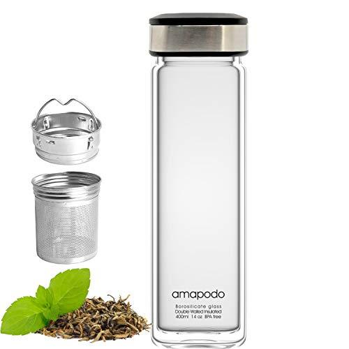 amapodo Trinkflasche aus Glas doppelwandig für Tee mit Sieb 400ml, Teeflasche, Isolierflasche mit Teesieb und Deckel Schwarz
