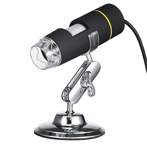 KKmoon Microscopio digital de aumento 1000X USB con funci髇 OTG Endoscopio 8-LED lupa de aumento de luz con soporte