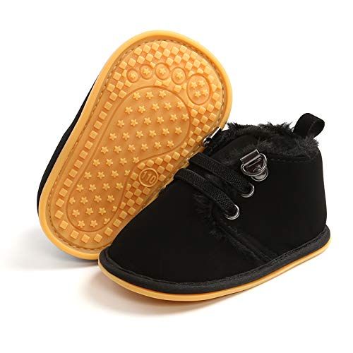 BENHERO Baby Boys Girls Anti-Slip Snow Boots Winter Warm Infant Toddler Outdoor Shoes(12-18 Months Toddler,B-Black)