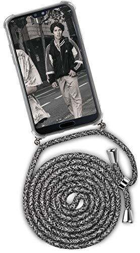 ONEFLOW Handykette kompatibel mit Huawei P20 - Handyhülle mit Band zum Umhängen Hülle Abnehmbar Smartphone Necklace - Hülle mit Kette, Schwarz Grau Weiß