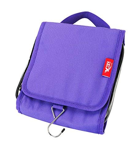 Travel Hang up wash Bag with 20x20x5cm Detachable Toiletry Bag Perfect for Cabin Hand Luggage (Purple)