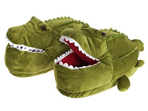 CoolChange Kuschelig warme Krokodil Hausschuhe, Grün