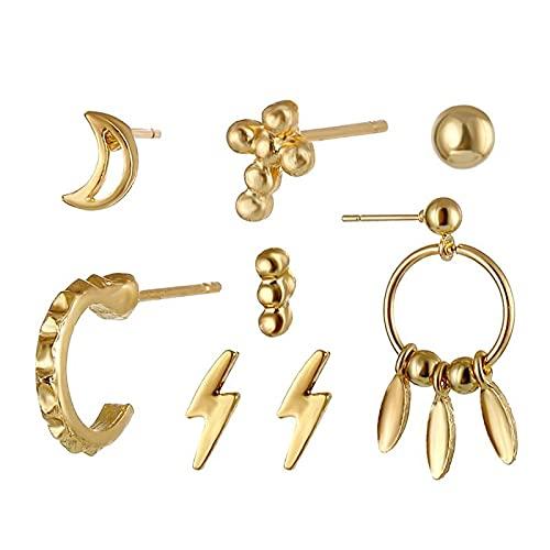 FEARRIN Pendientes de moda anillos de oreja Boho Multi-Elemento de oro Cristal Conjunto de Pendientes para las Mujeres Luna Estrella Colgante Piercing Geométrico Stud Pendientes Joyería LNI1751