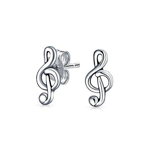 Les clous d'oreille clé de sol en argent