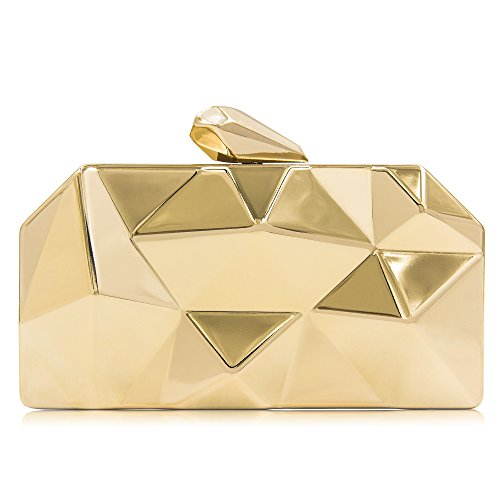 Milisente Women Fashion Metal Evening Handbags Geometric Clutches Purses Bag (Gold)