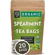 Organic Spearmint Leaf Tea Bags | 20 Tea Bags | Eco-Conscious Tea Bags in Kraft Bag | Raw from USA | by FGO