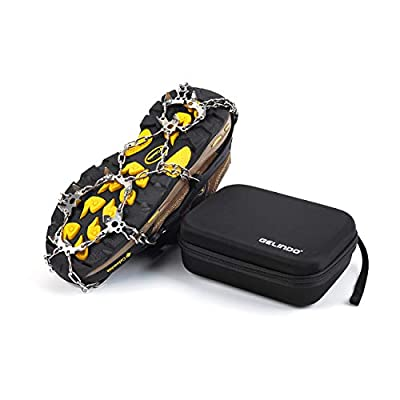 Gelindo Ice Traction Stainless Steel 19 Spikes Crampons for Boots Anti Slip Ice Grip Traction Safe Protection for Hiking, Walking, Climbing, Jogging, Mountaineering on Snow Muddy Road