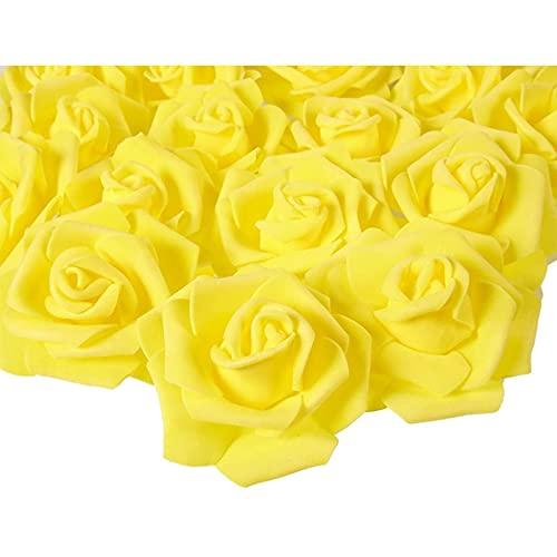 Juvale Rose Flores Cabezales - 100 unidades rosas artificiales, perfecto para decoración de bodas, baby showers, manualidades - amarillo, 3 x 1,25 x 3 pulgadas