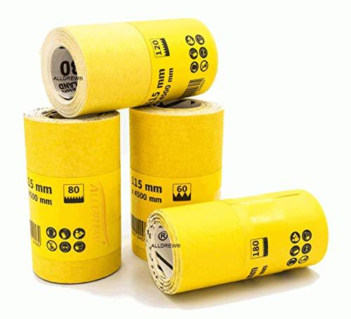 4x Schleifpapier-Rolle K- 60 80 120 180 Körnung für Holz und Farbe // ALLDREW Schleifrolle 115mm x 4,5m